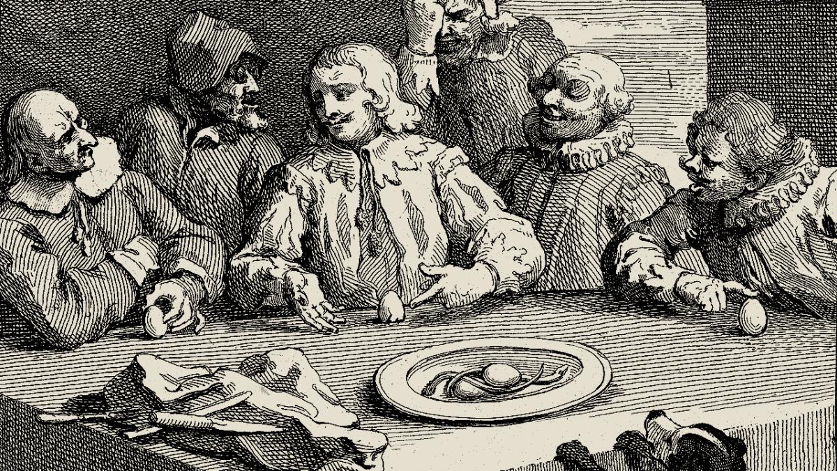Dare per scontato - Uovo di colombo - Columbus Breaking the Egg by William Hogarth