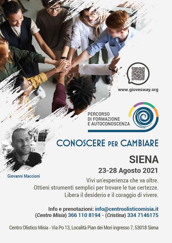 Residenziale Conoscere per Cambiare - Siena - Dal 23 al 28 Agosto 2021
